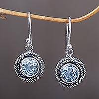 Blue topaz dangle earrings, 'Nest of Chains in Blue' - Round Blue Topaz Dangle Earrings from Indonesia