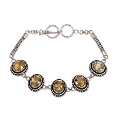 Handcrafted Balinese Sterling Silver Citrine Oval Link Bracelet