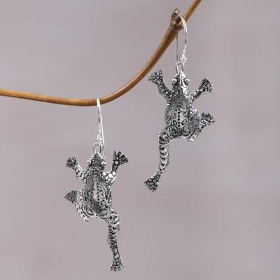 Sterling silver dangle earrings, Agile Frogs
