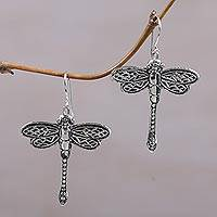 Sterling silver dangle earrings, 'Capung Dragonflies' - Sterling Silver Dragonfly Shaped Dangle Earrings