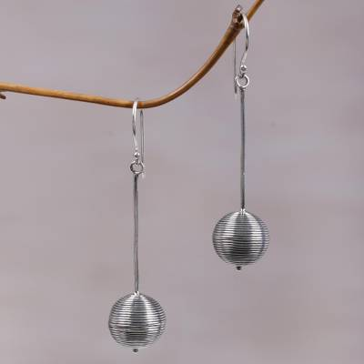 Sterling silver dangle earrings, 'Silver Lampion' - Contemporary Hand Crafted Sterling Silver Earrings from Bali