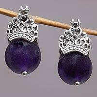 Amethyst drop earrings, 'Bali Majesty' - Balinese Sterling Silver and Amethyst Drop Earrings