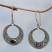 Garnet dangle earrings, 'Balinese Crescents' - Sterling Silver Garnet Crescent Dangle Earrings Indonesia