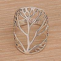 Sterling silver cocktail ring, 'Tree of Desire' - Sterling Silver Tree Openwork Cocktail Ring from Indonesia