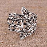 Sterling silver band ring, 'Hamsa Rope' - Sterling Silver Hamsa Symbol Ring Handcrafted in Bali