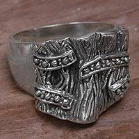 Sterling silver cocktail ring, 'Trapdoor' - Bold Textured Sterling Silver Cocktail Ring from Indonesia