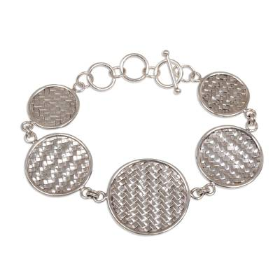 Indonesian Sterling Silver Toggle Clasp Woven Bracelet