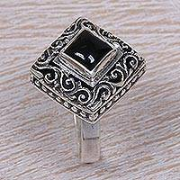 Onyx cocktail ring, 'Square Stupa' - Sterling Silver and Onyx Cocktail Ring from Indonesia