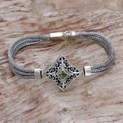 Peridot pendant bracelet, 'Star Guidance' - Hand Crafted Bali Style Sterling Silver and Peridot Bracelet