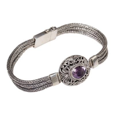 Sterling Silver and Amethyst Pendant Bracelet from Indonesia