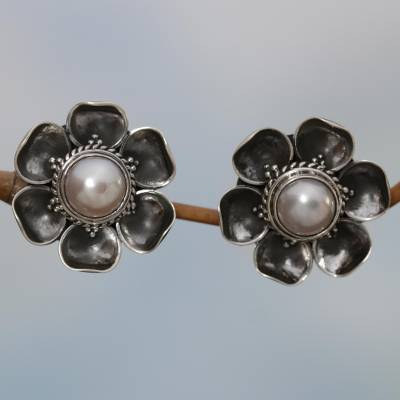 Cultured mabe pearl button earrings, Blooming White Roses