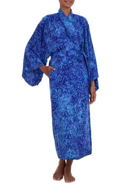 Blue Rayon Long Robe with Bamboo Batik Print from Indonesia