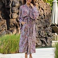 Rayon batik robe, 'Floral Mansion' - Sienna Purple Floral Batik on Rayon Long Robe from Indonesia