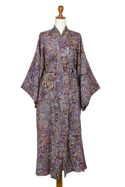 Sienna Purple Floral Batik on Rayon Long Robe from Indonesia