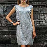 Rayon dress, 'Storm Grey Ocean' - Storm Grey 100% Rayon Sleeveless Short Dress from Indonesia