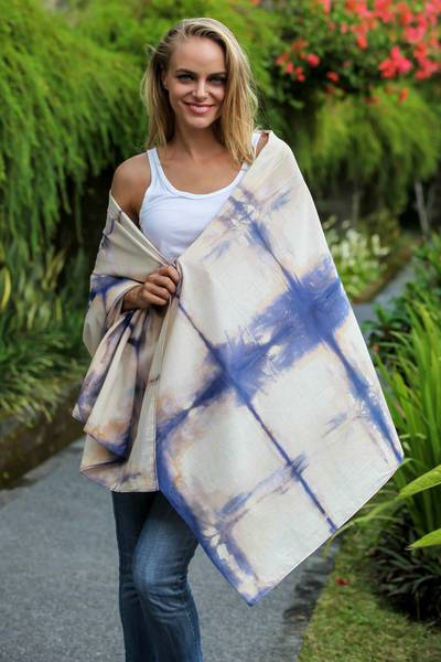 Tie-dyed cotton shawl, 'Taman Sari Castle' - Tie-Dyed Cotton Shawl with Square Motifs in Ecru and Indigo