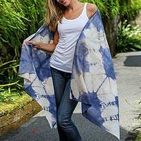 Tie-dyed cotton shawl, 'Gunung Kidul Indigo' - Tie-Dyed Cotton Shawl in Indigo and Ivory from Bali