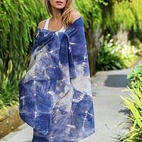 Tie-dyed cotton shawl, 'Parang Tritis Waves' - 100% Cotton Tie-Dye Shawl in Indigo from Indonesia