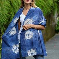 Tie-dyed cotton shawl, 'Lor Lan Kidul' - Indonesian Jumputan Tie-Dyed Spotted Cotton Shawl in Indigo