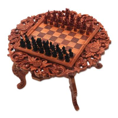 Wood chess set, 'Ramayana Garland' - Hand Carved Wood Chess Set