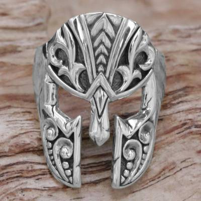 Men's sterling silver ring, 'Shining Knight' - Handcrafted Indonesian Engraved Sterling Silver Men's Ring