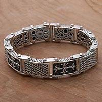 Men's sterling silver link bracelet, 'Ring of Crosses' - Men's Handcrafted Engraved Sterling Silver Link Bracelet