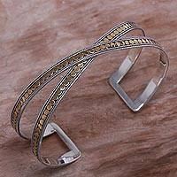 Gold accented sterling silver cuff bracelet,