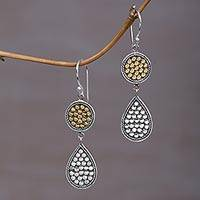 Gold accented sterling silver dangle earrings Sunny Drops (Indonesia)