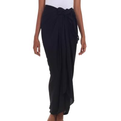 Traditional Balinese Fashion Black Rayon Sarong