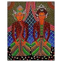 'Bride Statues of Harmony' - Original Acrylic Painting of Married Couple from Indonesia