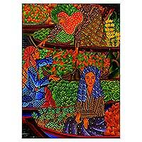 'The Floating Market' - Original Acrylic Painting of Market Scene from Indonesia