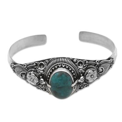 Fair Trade Blue Sterling Silver Turquoise Flower Cuff Bracelet