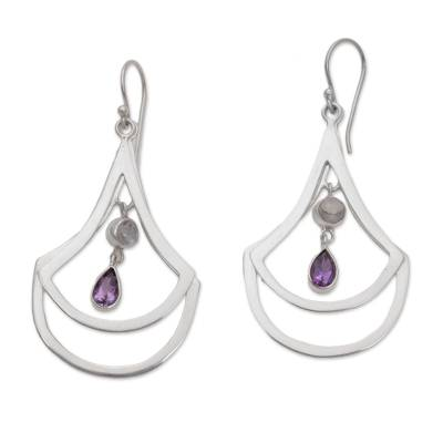 Amethyst and Rainbow Moonstone Dangle Earrings