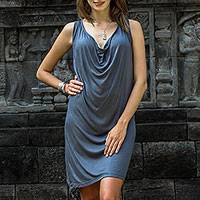 Rayon dress, 'Grey Ripple Effect' - Sleeveless Grey Rayon Dress with Cowl Neckline from Bali