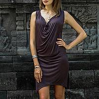 Rayon dress, 'Brown Ripple Effect' - Sleeveless Brown Rayon Dress with Cowl Neckline from Bali