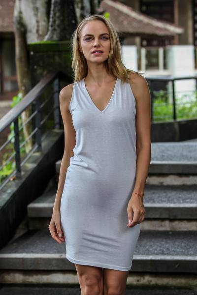 Sleeveless cotton dress, 'Sincerity' - Handmade Silver-Gray Cotton Sleeveless Dress from Bali