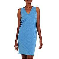 Sleeveless cotton shift dress, 'Sincere Sky' - Sky Blue Short Sleeveless V-neck Cotton Dress from Bali