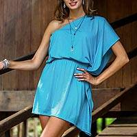 Cotton one-shoulder dress, 'Sky-Blue Starlet' - Handmade One Shoulder Sky Blue Short Cotton Dress from Bali