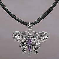 Amethyst pendant necklace, 'Purple Bali Moth' - Leather Butterfly Necklace with Sterling Silver and Amethyst