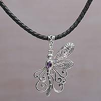 Amethyst pendant necklace, 'Bali Dragonfly' - Balinese Amethyst and Leather Dragonfly Pendant Necklace