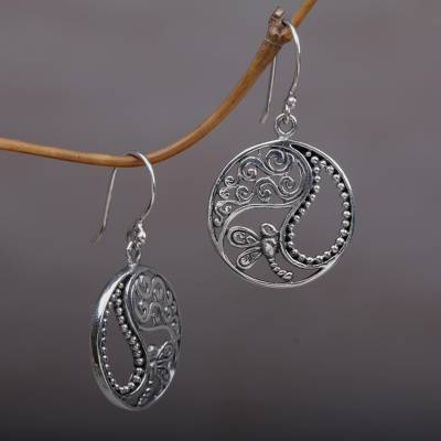 Sterling silver dangle earrings, 'Natural Balance' - Sterling Silver Dragonfly Dangle Earrings from Bali
