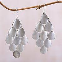 Sterling silver chandelier earrings, 'Silver Cluster' - Bali Handcrafted Modern Sterling Silver Chandelier Earrings