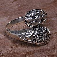 Sterling silver wrap ring, 'Ferns and Seeds' - Indonesian Handcrafted Sterling Silver Engraved Wrap Ring