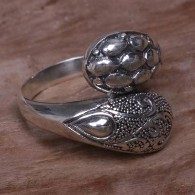 cheap glass ring holders - Indonesian Handcrafted Sterling Silver Engraved Wrap Ring