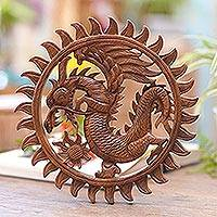 Wood relief panel, 'Aura of the Dragon' - Hand Made Circular Wood Relief Panel of a Balinese Dragon