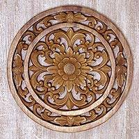 Wood relief panel, 'Temple Flower' - Hand Carved Balinese Circular Floral Wood Relief Panel