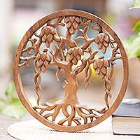 Wood relief panel, 'Bali Banyan Tree' - Hand Carved Wood Relief Panel of a Balinese Banyan Tree