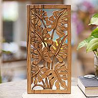 Wood relief panel, 'Philodendron Leaves' - Hand Carved Leafy Wood Wall Relief Panel from Indonesia