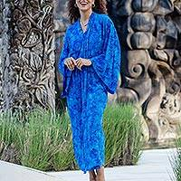 Rayon batik robe, 'Misty Ocean' - Long Handcrafted Batik and Tie Dyed Rayon Robe from Bali