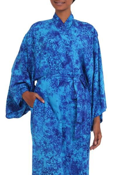 Long Handcrafted Batik and Tie Dyed Rayon Robe from Bali